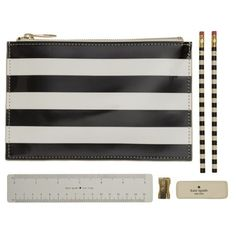 Kate Spade New York Stripe Pencil Pouch Set (94 BRL) ❤ liked on Polyvore featuring home, home decor, office accessories, filler, white, zip pencil case, white pencil, white color pencil, kate spade pencil case and white eraser