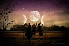 Symbol of triple goddess: maiden (waxing crescent), mother (full moon), crone (waning crescent).