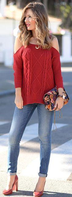 Cold Shoulder Cable Knit Sweater Fall Street Style Inspo by Mi Aventura Con La Moda