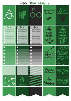 Printable stickers Harry Potter Slytherin house designed your planner or happy planner. Header, checklist, clip art, boxes, half boxes and clipart for more custom ! ;) Purchase and print unlimited copies as you want to designed your planner. 3 pdf file instant download for best print. More 200 stickers. ------ Warning ------- This is not physical product, just digital download for print & design your planner.