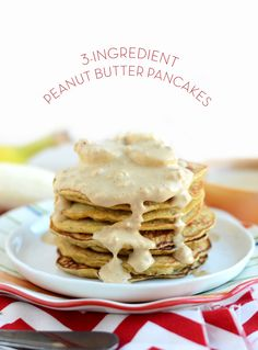 3 Ingredient Peanut Butter Pancakes made with eggs, mashed banana, and peanut flour!