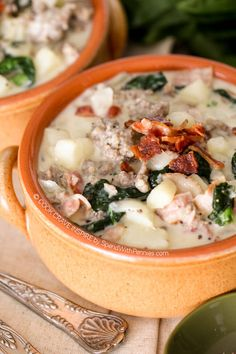 Zuppa Toscana is quick and easy to make at home and delicious! Loaded with sausage, potatoes and bacon, this is definitely a crowd pleaser!