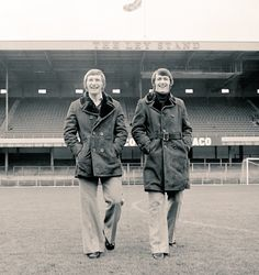 Colin Todd & Bruce Rioch in sporting their sheepskins at the home of the Rams. Ipswich Town, Derby County, Texaco, Football Program, Rugby, Champion, Raincoat, Winter Jackets, Sports