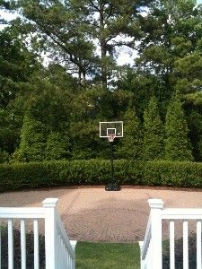 Backyard ideas Basketball court for the boys using pavers for floor so you can move the hoop and put seating. But do stained concrete with pavers as lines Home Basketball Court, Backyard Basketball, Basketball Floor, Basketball Games, Outdoor Fun, Outdoor Spaces, Outdoor Living, Back Gardens, Outdoor Gardens