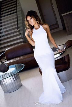 White Halter Long Column Sheath Women Evening Dresses 2016 Cheap High Quality…