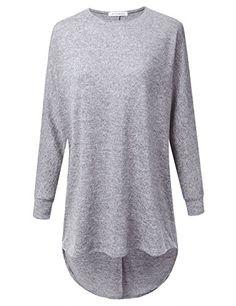 JJ Perfection Womens Marled 34 Sleeve High Low Oversized Crewneck Sweater  HGREY L     300e5eca9
