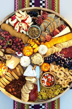 Fall Epic Charcuterie Board for casual entertaining filled with pumpkin treats best cheese and cured meats with fruits nuts and crackers! Party Trays, Party Platters, Food Platters, Cheese Platters, Party Snacks, Fall Appetizers, Halloween Appetizers, Appetizer Recipes, Healthy Halloween