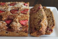 Ingredients   ½ cup (1 stick) butter, softened  1 cup granulated sugar  2 large eggs, beaten  3 ripe bananas, mashed  2 cups flour  1 teaspoon baking soda  ½ teaspoon salt  1½ cups fresh strawberries chopped &
