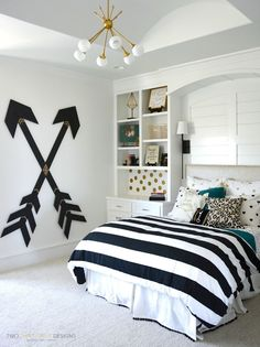 Pottery Barn Teen Girl Bedroom with Wooden Wall Arrows