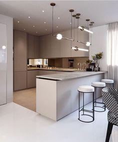 Modern Kitchen Interiors, Luxury Kitchen Design, Kitchen Room Design, Home Room Design, Kitchen Cabinet Design, Home Decor Kitchen, Interior Design Kitchen, Kitchen Ideas, Simple Kitchen Design