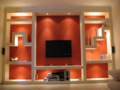 Idee pareti soggiorno in cartongesso - Parete attrezzata illuminata