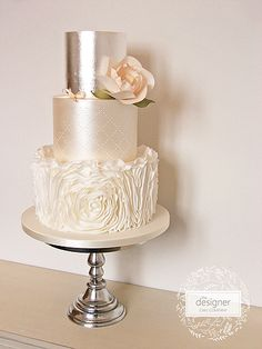 Peach rosette ruffle wedding cake – Famous Last Words Metallic Wedding Cakes, Floral Wedding Cakes, Wedding Cake Rustic, White Wedding Cakes, Wedding Topper, Elegant Wedding Cakes, Wedding Cake Designs, Wedding Favors, Wedding Ideas