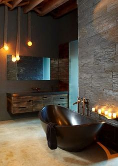 Bachelor pad / masculine, bathroom interior design & decor.