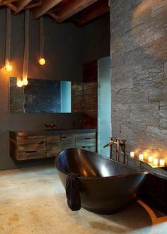 Bachelor pad / masculine, bathroom interior design & decor.