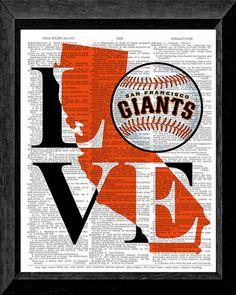 Love San Francisco Giants Dictionary art print, prints on dictionary paper, Wall art, SF Giants, Pence, Posey