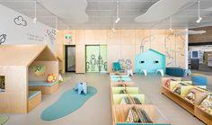 Custom Tretford at the Aldinga Library in Khalka & Sayan – Kindergarten Lesson Plans Daycare Design, Classroom Design, School Design, Kindergarten Interior, Kindergarten Design, Kids Library, Library Design, Kids Cafe, Kids Play Area