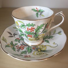 Royal Albert Holly Vintage Tea Cup and Saucer