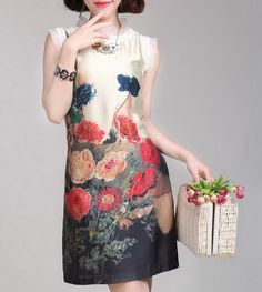Ladys Floral Silk Dress-zeniche.com SKU aa0073