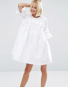 Image 1 ofASOS WHITE Frill Dress With Contrast Fabric