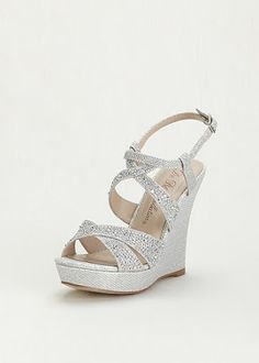 find this pin and more on zapatos looking for the perfect davids bridal synthetic high heel wedge sandal with crystal embellishment style silver