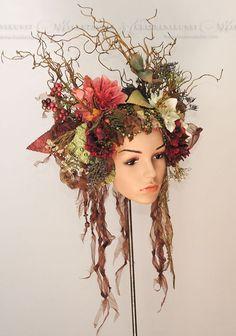 Fall Flower Crown, Steampunk Fairy, Antler Headband, Halloween Headband, Festivals Around The World, Festival Costumes, Viking Symbols, Woodland Fairy, Fantasy Hair
