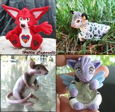 Small 2 Sculpture Custom Order  Pet animal cartoon by HammoudaArts (Art & Collectibles, Dolls & Miniatures, figure, sculpture, small, ooak, pet, fantasy, miniature, create your own, polymer clay, totem, cartoon character, animal, game character)