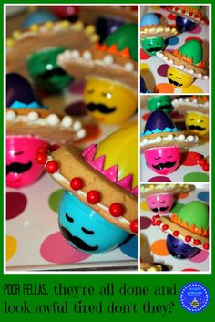 From Easter to Cinqo de Maya:  use your plastic easter eggs to make candy filled sombrero hat egghead cookies  VERY CLEVER!