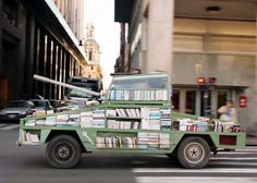 raul lemesoff turns 1979 ford falcon into tank-shaped traveling library