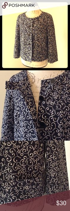 Ann Taylor Loft 3/4 sleeve crop jacket 100% cotton 100% acetate lining. Cropped 3/4 sleeve jacket, 4 beautiful button closure, top button with flap detail, black and white swirl pattern and 2 small front pockets. Ann Taylor Jackets & Coats