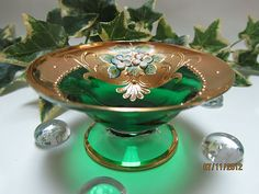 EMERALD GREEN BOHEMIAN ART GLASS~ENAMEL & GOLD GILT~PEDESTAL OPEN SALT CELLAR