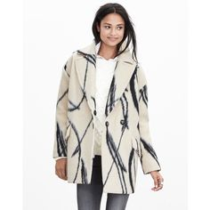 Banana Republic 'XO' Wool Cocoon Coat This coat is right at the intersection of Cozy and Fabulous--I love, LOVE this!!!  (I just need a different size.)  The wool is soft and cozy, gorgeous ivory lining, two button snap closure, hip pockets.  Gorgeous cream background with abstract 'XO' pattern.  Feels luxe, goes with everything.  Oversized fit, perfect for wearing over those chic oversized sweaters we all have!  In excellent condition--worn twice, no signs of wear.  Feel free to comment…