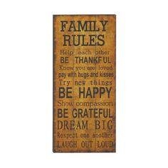 "Enterprises ""Family Rules"" Wall Decor"