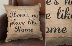 """These throw pillows with this  """"No Place Like Home"""" message are decorative pillows that add a cozy warming touch! Use this canvas pillow as a way to tie together any space! For more visit, www.decorsteals.com OR www.facebook.com/decorsteals"""