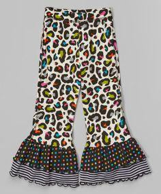 Look at this #zulilyfind! Cream & Black Leopard Double Ruffle Leggings - Girls by  #zulilyfinds