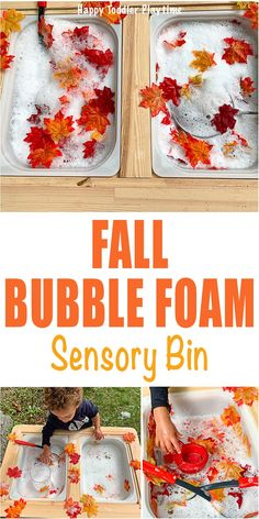 Autumn Bubble Foam Sensory Bin - HAPPY TODDLER PLAYTIME Create this fun bubble foam sensory bin for your toddler this Autumn! It's super simple to set up and a great way to explore all the colours of Fall! Sensory Table, Sensory Bins, Sensory Activities, Sensory Play, Infant Activities, Fall Sensory Bin, Baby Sensory, Autumn Activities For Kids, Fall Preschool