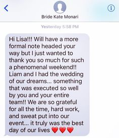 This is a text I love getting!!!! Thank you to Kate and Liam the pleasure was all ours! We had an amazing time with you!  #ccblct #ccbl #teamccblct #ctshorelinewedding #shorelinewedding #weddinginspo #weddinginspiration #weddingplanner #weddingdesigner #ladyboss #hustle #wegotthis #gettingitdone