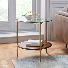 West Elm Mid Century, Mid Century Art, Mid Century Style, Mid Century Design, Rustic Side Table, White Side Tables, End Tables, Small Round Side Table, Occasional Tables