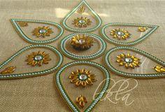 Rangoli Art from India .. Diwali Decor .. Floor and Table Decor ... Indian Wedding Favors. $20.00, via Etsy.