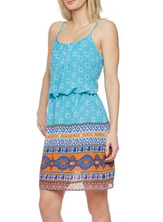 Empire Waist Dress with Spaghetti Straps and Tribal Print,TURQUOISE