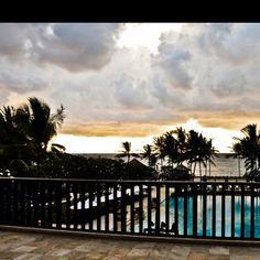 Hotel lobby of Conrad Bali at sunset..