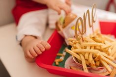 Let them eat cake. But if they don't want to, try a burger smash instead. This is the theory behind my son's first-birthday In-N-Out Burger (and fries) s… First Birthday Photos, 1st Birthday Parties, Potato Heads, Burger And Fries, Baby Center, Photo Projects, Creative Photos, Cake Smash, Let Them Eat Cake