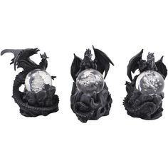 Set of 3 Dragons with Glass Eggs - dimensions: approx. 7 x 9 x 10 cm - material: cast stone/glass