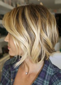Image result for short bob hair cut with blonde low and high lights