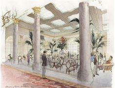 Plaza hotel Architectural watercolor interior Artist Shalumov hand rendering new york