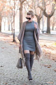 Fringe Benefits: fringe tassel poncho, gray sweater dress, Brahmin 'Corington' tote, Stuart Weitzman 'Highland' gray over the knee boots, all gray outfit, poncho with sweater dress outfit, fringe poncho outfit