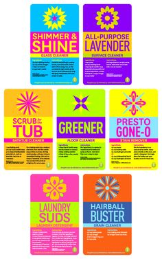 Printable Green Cleaning Labels with some great recipes!