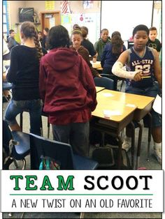 Have you heard of the review game Scoot? It's a whole class activity that gets kids up and moving from one seat to another as they solve problems. Team Scoot is a fun variation that allows students to work in cooperative learning teams which gives them an opportunity to discuss their answers and stretch their thinking. Click the link below to visit my blog and read more!  http://corkboardconnections.blogspot.com/2014/05/team-scoot-new-twist-on-old-favorite.html