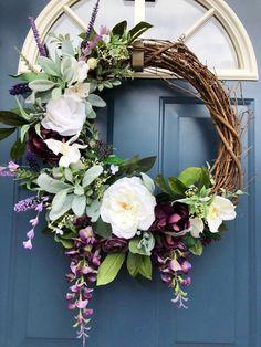 All Seasom Wreath, Front Door, Lambs Ear, Farmhouse Wreath, Autumn. Best Picture For spring wreath Diy Spring Wreath, Spring Door Wreaths, Diy Wreath, Grapevine Wreath, Tulle Wreath, Winter Wreaths, Wreath Ideas, Holiday Wreaths, White Wreath