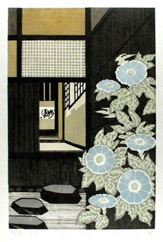 Tea-ceremony Room with morning glory woodblock print by Ray Morimura Japanese Art Modern, Modern Asian, Japanese Prints, Chinese Prints, Illustrations, Illustration Art, Japanese Illustration, Japanese Woodcut, Art Japonais