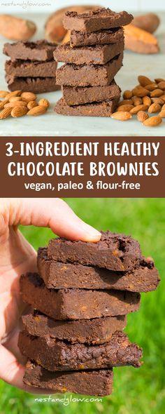 3-Ingredient Healthy Chocolate Brownies Recipe - Vegan, Oil-free and Flour-free
